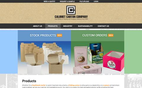 Screenshot of Products Page calumetcarton.com - Products | Calumet Carton - captured Oct. 1, 2014