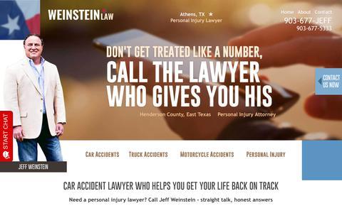 Screenshot of Home Page jeffweinsteinlaw.com - Henderson County TX Injury Attorney   Jeff Weinstein Law - captured July 21, 2019