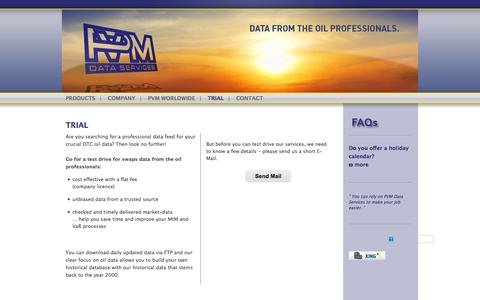 Screenshot of Trial Page pvmdataservices.com - Data from the oil professionals – unbiased oil data from a trusted source - captured Sept. 27, 2014