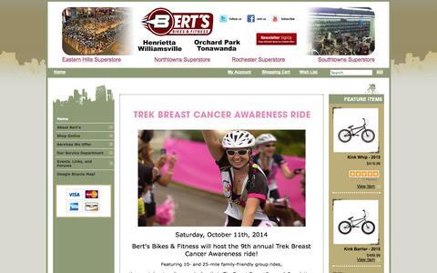 Screenshot of Home Page bertsbikes.com - Bert's Bikes and Fitness   Trek   Cannondale   Gary Fisher   Schwinn   GT   Electra - captured Oct. 5, 2014