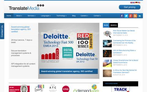 Screenshot of Home Page translatemedia.com - Translation Agency | Translation Services | TranslateMedia - captured Sept. 11, 2014