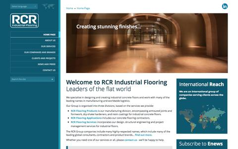 Screenshot of Home Page rcrindustrialflooring.com - RCR Industrial Flooring | Concrete Flooring Construction, Design and Products - captured Oct. 9, 2014