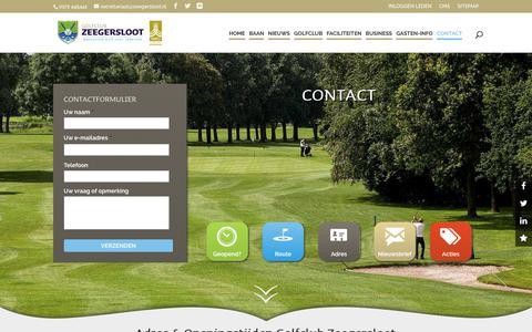 Screenshot of Contact Page zeegersloot.nl - Contact | Golfclub Zeegersloot - captured Aug. 28, 2017