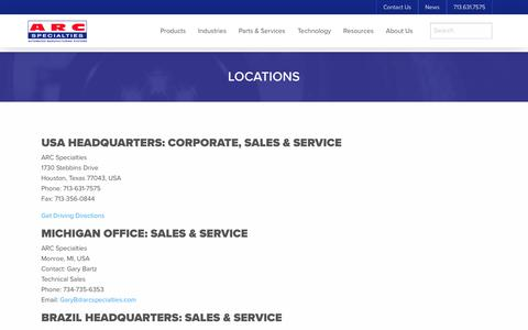 Screenshot of Locations Page arcspecialties.com - Our Locations - captured May 28, 2017