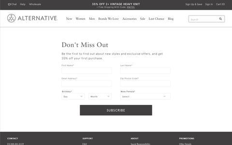 Screenshot of Signup Page alternativeapparel.com - Email Sign Up   Alternative Apparel - captured Nov. 12, 2017