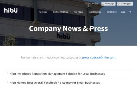 Screenshot of Press Page hibu.com - News & Updates | Hibu - captured March 14, 2019