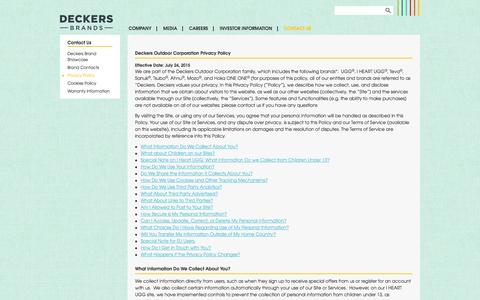 Screenshot of Privacy Page deckers.com - Privacy Policy | Deckers Brands - captured Nov. 1, 2014