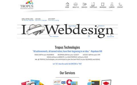 Screenshot of Home Page Menu Page tropustechnologies.com - E-Commerce web design| Web development| Web design| Tropus Technologies - captured Feb. 27, 2016