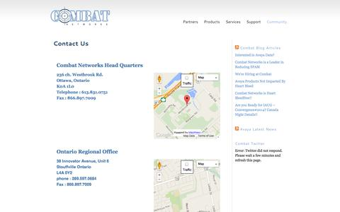 Screenshot of Contact Page combatnetworks.com - Combat Networks National Offices - captured Sept. 30, 2014