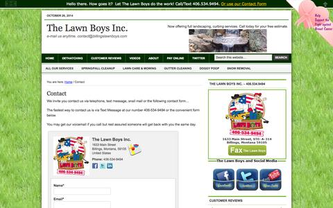 Screenshot of Contact Page billingslawnboys.com - Contact The Lawn Boys from Billings Montana | The Lawn Boys Inc. - captured Oct. 26, 2014