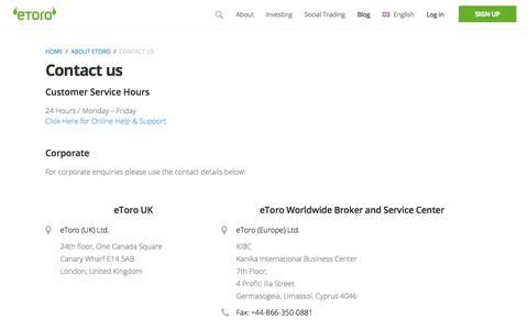 Screenshot of Contact Page etoro.com - Contact us - | eToro - captured Feb. 4, 2018