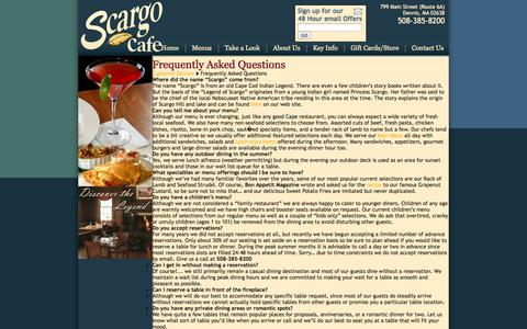 Screenshot of FAQ Page scargocafe.com - Scargo Cafe: Frequently Asked Questions - captured Sept. 30, 2014