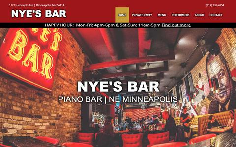 Screenshot of Home Page About Page Contact Page Menu Page nyesbar.com - Nye's Bar | NE Minneapolis Piano Bar | Restaurant - captured Nov. 3, 2018