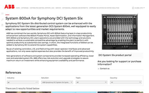 Screenshot of Support Page abb.com - Symphony DCI System Six System Evolution to System 800xA - Extensions, Upgrades and Retrofits for distributed control system (Services for ABB distributed control systems (DCS)) - captured Nov. 9, 2019