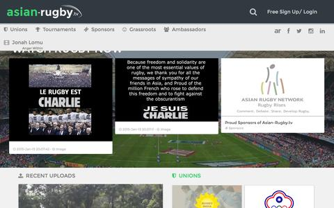 Screenshot of Home Page asian-rugby.tv - Asian-Rugby TV · Enjoy Rugby from around the 	world! - captured Jan. 23, 2015