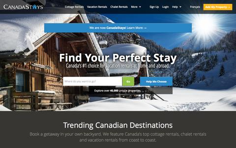 Screenshot of Home Page canadastays.com - Cottage Rentals, Vacation Rentals, Chalet Rentals & Condo Rentals - CanadaStays - captured Jan. 22, 2015