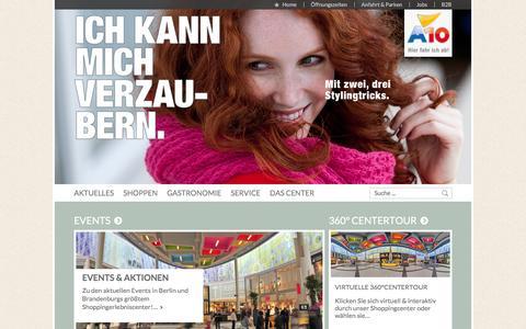 Screenshot of Home Page a10center.de - Shopping- & Freizeitwelt bei Berlin | A10 - captured Feb. 16, 2016