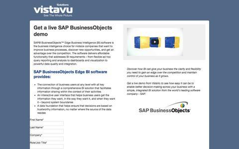 Screenshot of Landing Page vistavusolutions.com - Get a live SAP BusinessObjects demo - captured Aug. 18, 2016