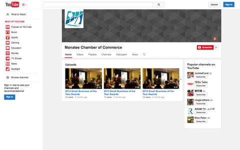 Screenshot of YouTube Page youtube.com - Manatee Chamber of Commerce  - YouTube - captured Oct. 23, 2014
