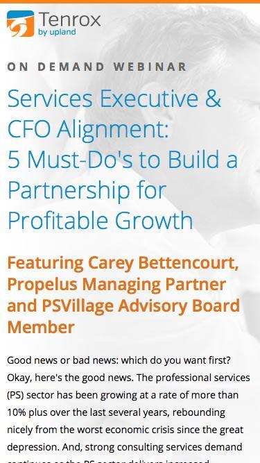 Tenrox Webinar: Services Executive & CFO Alignment: 5 Must-Do's to Build a Partnership for Profitable Growth