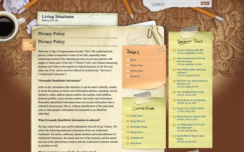 Screenshot of Privacy Page livingstructures.net - Privacy Policy | Living Structures - captured Sept. 30, 2014