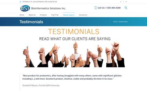 Screenshot of Testimonials Page bioinfor.com - Testimonials - BSI - captured Oct. 10, 2017