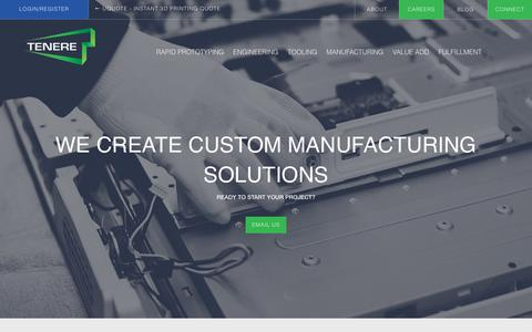 Screenshot of Home Page tenere.com - Tenere Inc. | Contract Manufacturing Solutions - captured July 10, 2017