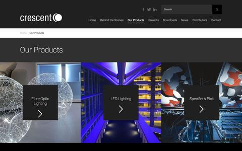 Screenshot of Products Page crescent.co.uk - Our Products - Crescent Lighting - captured Feb. 1, 2016