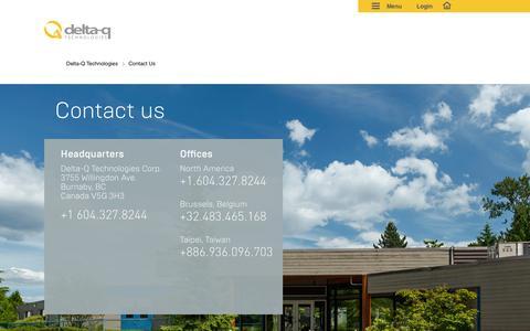 Screenshot of Contact Page delta-q.com - Contact us| Delta-Q Technologies - captured Feb. 9, 2016
