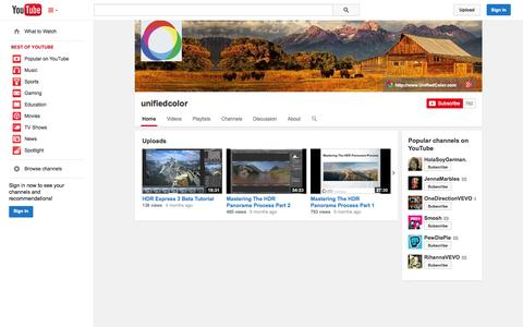 Screenshot of YouTube Page youtube.com - unifiedcolor  - YouTube - captured Oct. 22, 2014