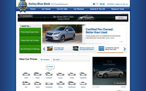 Screenshot of Home Page kbb.com - Official Kelley Blue Book New Car and Used Car Prices and Values - captured Sept. 18, 2014