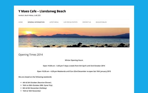 Screenshot of Menu Page ymaescafe.co.uk - Opening Times 2014 - Y Maes Cafe - Llandanwg Beach - captured Oct. 29, 2014