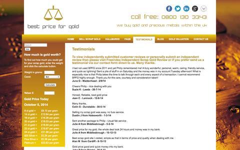 Screenshot of Testimonials Page bestpriceforgold.co.uk - Scrap Gold Buying Service | Customer Reviews | Best Price for Gold - captured Oct. 5, 2014