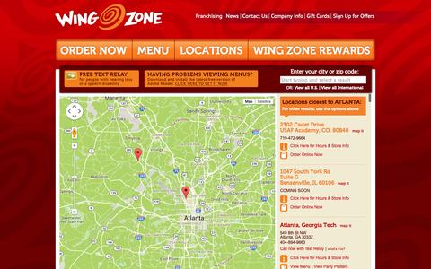 Screenshot of Locations Page wingzone.com - Find a Location | Wing Zone | We Deliver Amazing Flavor - captured Oct. 26, 2014