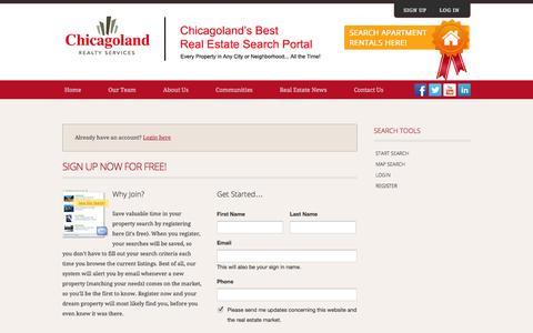 Screenshot of Signup Page chicagolandrealtyservices.com - Register - captured Oct. 2, 2014
