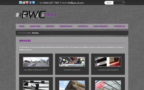 Screenshot of Services Page pwc.uk.com - PWC UK - The Rope Access Specialists - ServicesPWC - captured Oct. 1, 2014