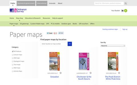 Screenshot of Maps & Directions Page ordnancesurvey.co.uk - Paper maps | Ordnance Survey Shop - captured Oct. 26, 2014