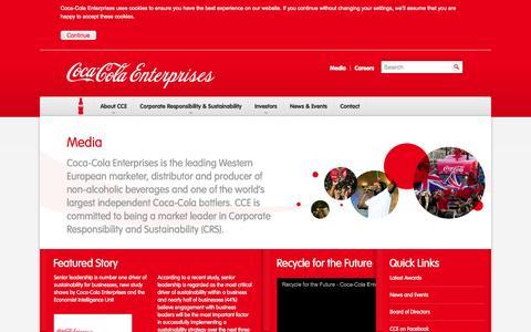 Screenshot of Press Page cokecce.com - Coca-Cola Enterprises      : Media - captured Sept. 25, 2014