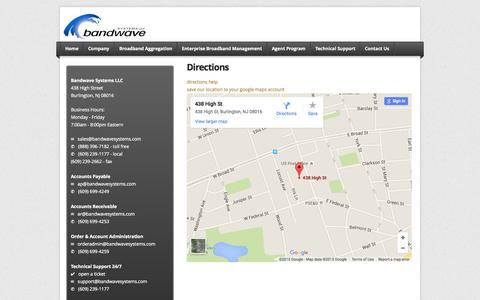 Screenshot of Maps & Directions Page bandwavesystems.com - Directions - Bandwave Systems - captured Nov. 14, 2015