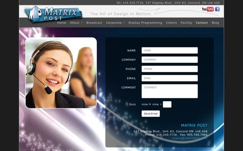 Screenshot of Contact Page matrixpost.com - Contact Matrix Post for Corporate videos, training videos and full service video production - captured Oct. 29, 2014