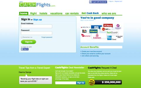 Screenshot of Login Page cashflights.com - CashFlights -  Cheap Flights, find compare prices on travel, Flight Deals. - captured Oct. 2, 2014