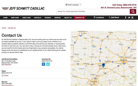 Screenshot of Contact Page Locations Page jeffschmittcadillac.com - Contact Jeff Schmitt Cadillac in Beavercreek Ohio - captured June 18, 2016