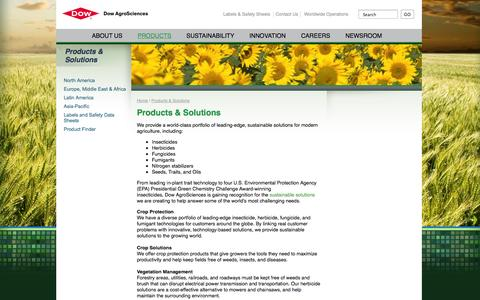 Screenshot of Products Page dowagro.com - Products & Solutions | Dow AgroSciences - captured Sept. 24, 2014