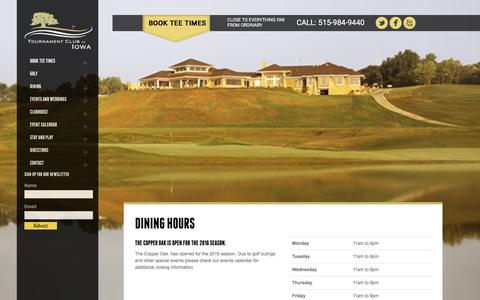 Screenshot of Hours Page tcofiowa.com - Copper Oak Grill | Dining Hours | Tournament Club of Iowa tcofiowa - captured June 24, 2016