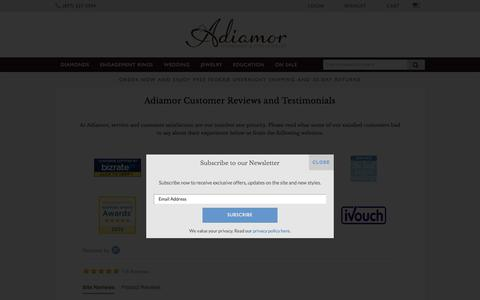 Screenshot of Testimonials Page adiamor.com - Adiamor Reviews - Customer Reviews & Testimonials - captured July 29, 2018
