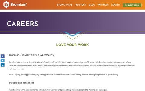 Screenshot of Jobs Page bromium.com - Bromium Careers - Be Bold and Take Risks - captured April 10, 2018