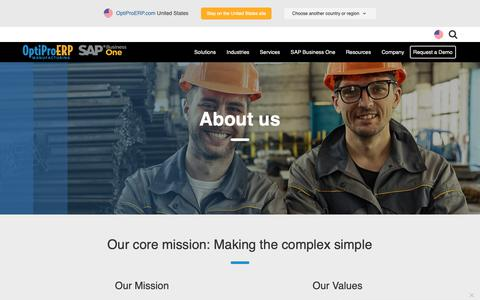 Screenshot of About Page optiproerp.com - About OptiProERP- Making the Complex Simple - captured Oct. 19, 2018