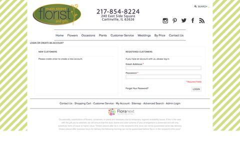 Screenshot of Login Page main-street-florist.com - Main Street Florist - captured July 25, 2018