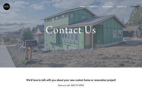Screenshot of Contact Page aikihomes.com - Contact — AIKI HOMES - captured July 29, 2018