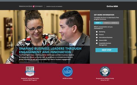 Screenshot of Landing Page wsu.edu - MBA | Washington State University - captured April 3, 2017